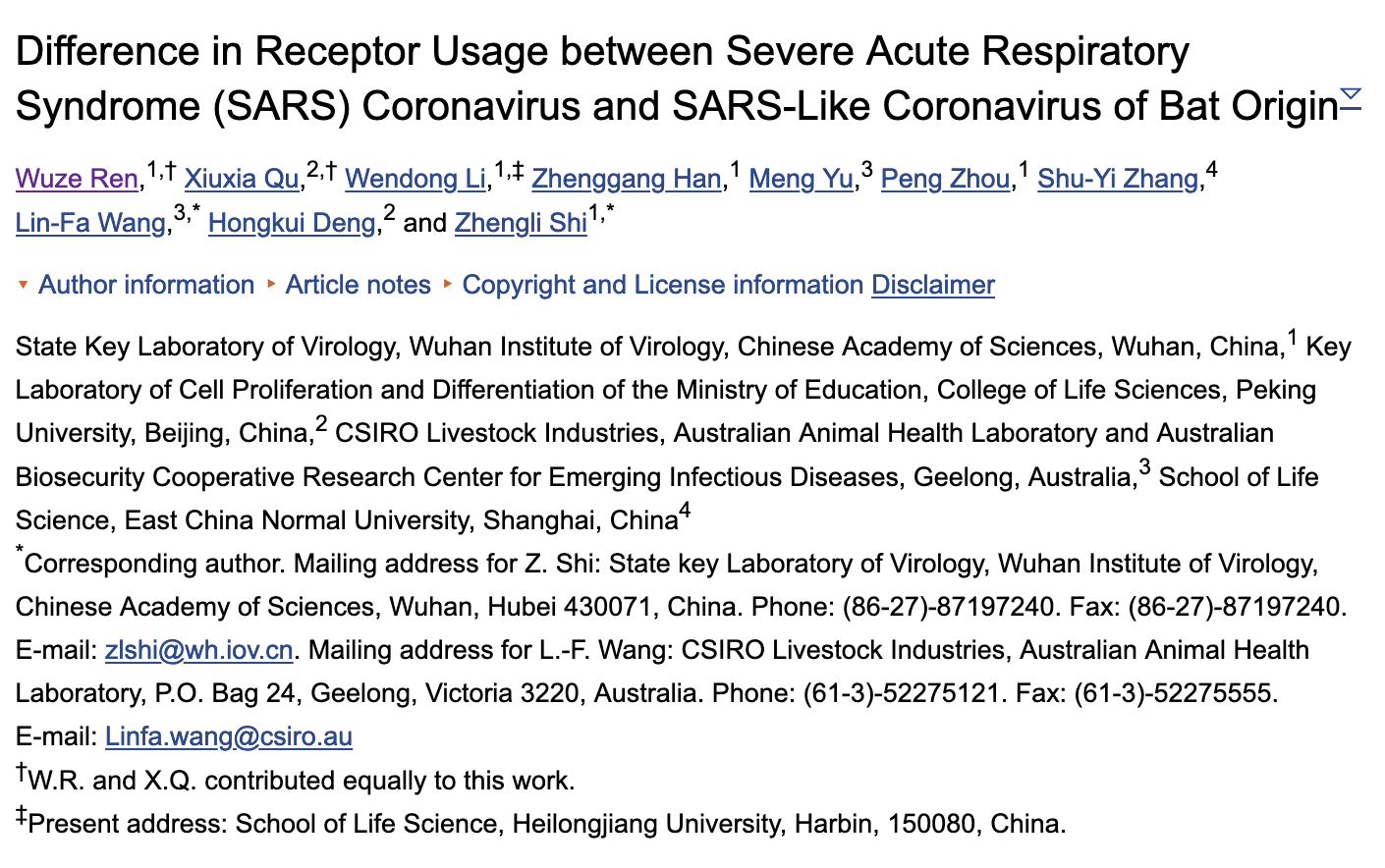 auth info 1 Evidence SARS-CoV-2 Emerged From a Biological Laboratory in Wuhan, China